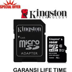 Kingston Memory Card MicroSDHC 16GB/80MB UHS-1 Class 10 with Adapter - Hitam