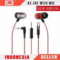 Knowledge Zenith KZ ZSE Dual Dynamic Driver Hifi In Ear Earphones With Mic - Black