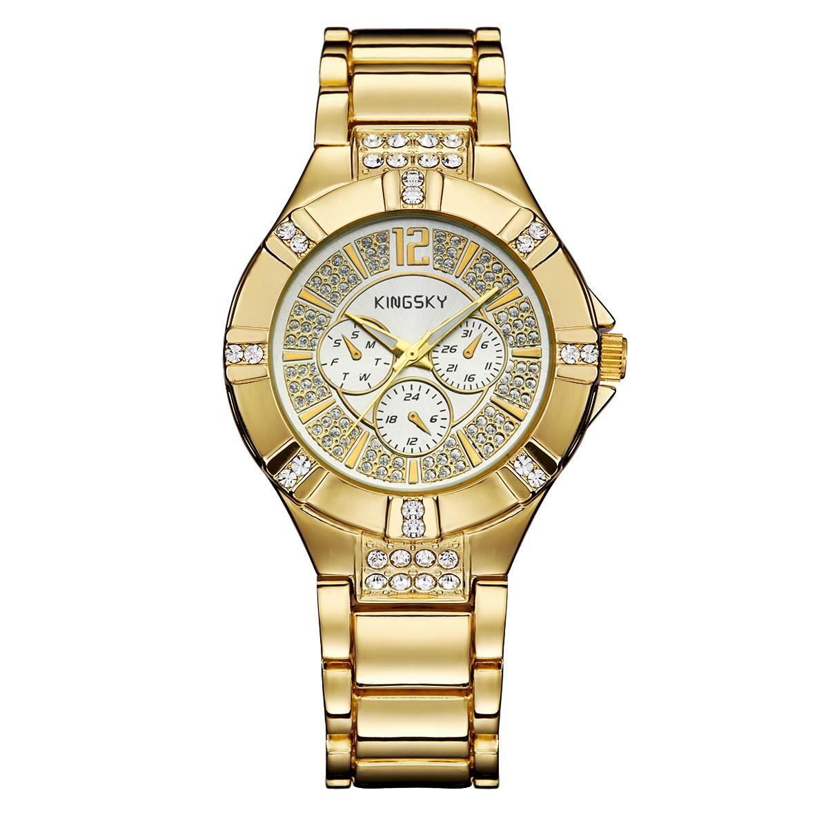 Kobwa Kingsky Produsen Jam Tangan QUARTZ Watch Model Ledakan Jepang Jam Tangan Mewah Atmosfer dari Pria dan Wanita Meja Custom Grosir SMT (GoldWhite)