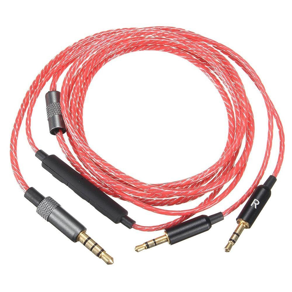 Kobwa Penggantian Kabel dengan Remote Volume dan Mikrofon untuk Sol Republic Master Trek HD V8 V10 V12 X3 Headphone- 4 Kaki (1.2 Meters) Merah-Intl