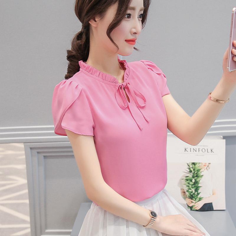 Spesifikasi Korea Baru Sifon Lengan Pendek Kemeja Dangkal Merah Mawar Baju Lengan Daun Lotus Baju Wanita Baju Atasan Kemeja Wanita Blouse Wanita Oem
