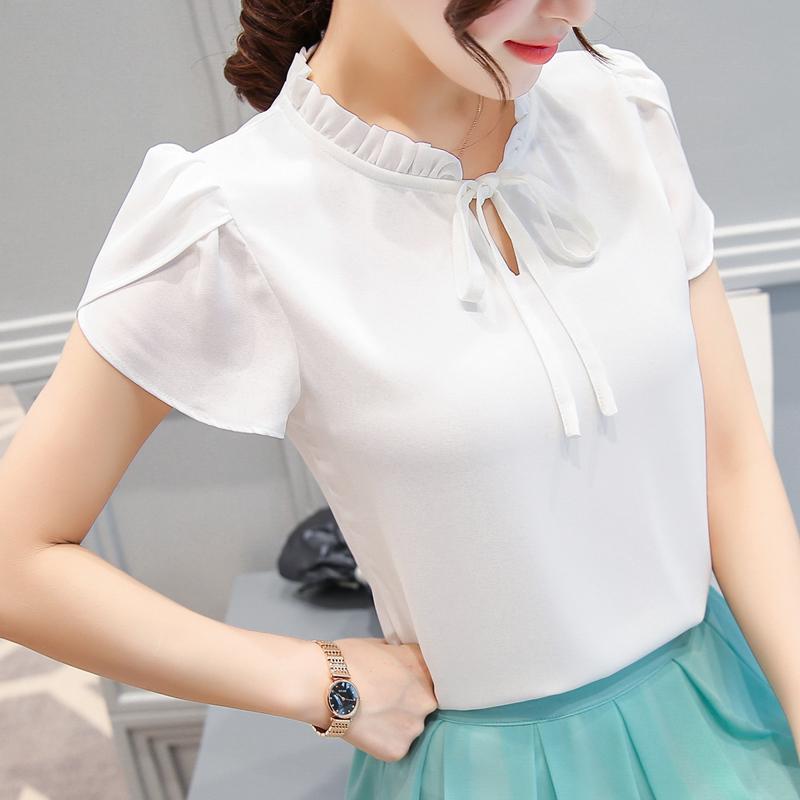 Jual Beli Korea Baru Sifon Lengan Pendek Kemeja Putih Baju Lengan Daun Lotus Baju Wanita Baju Atasan Kemeja Wanita Blouse Wanita Di Tiongkok