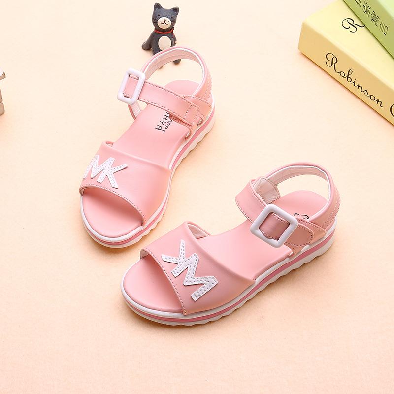 Korea Modis Gaya Anak Perempuan Kecil Sepatu Bayi Sandal Musim Panas (Merah Muda Warna)