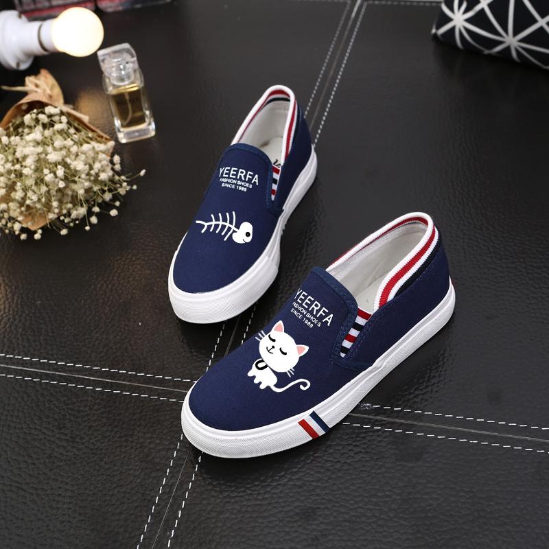 Spesifikasi Korea Fashion Style Datar Sepatu Kain Mudah Dipakai 318 Blue Cat Ikan Lengkap