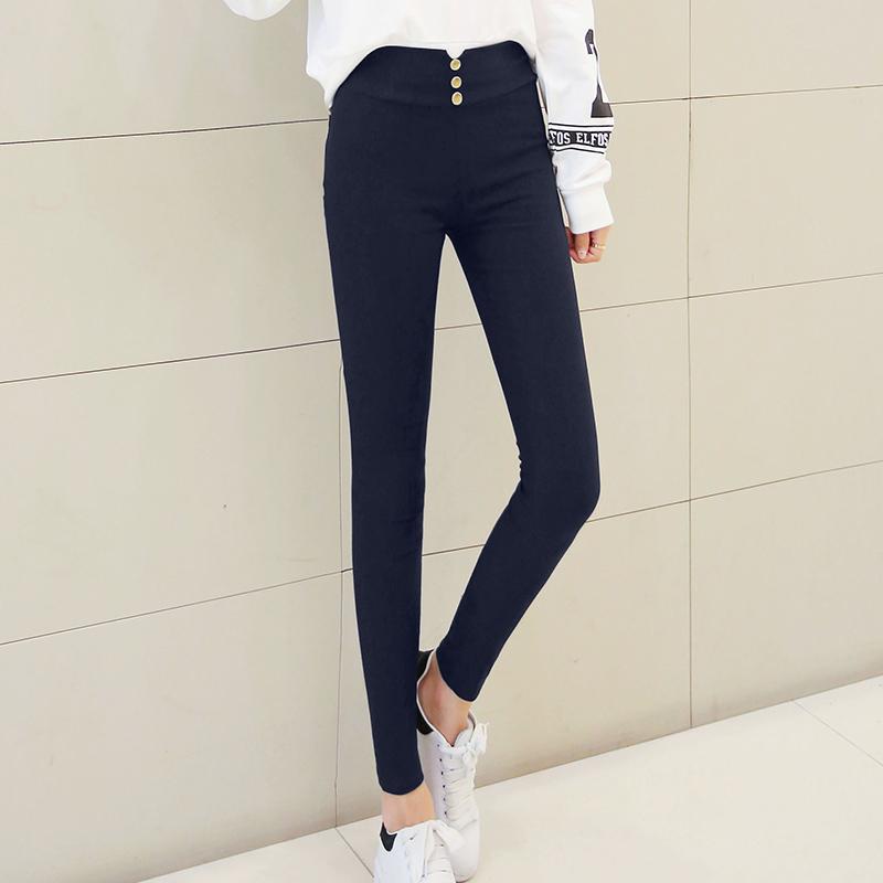 Review Toko Korea Fashion Style Hitam Musim Gugur Bagian Tipis Legging Biru Tua Biru Tua Baju Wanita Celana Wanita Online