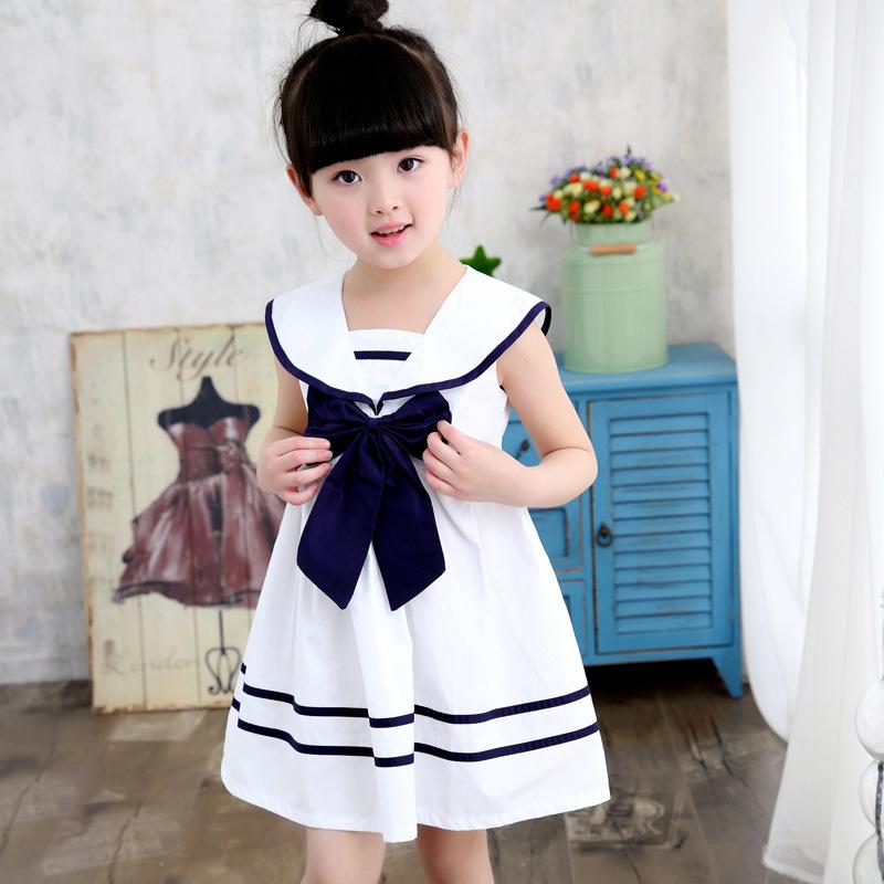 Korea Fashion Style Katun Anak Perempuan Kecil Dress Tanpa Lengan Gaun (Navy Gaun Putih)
