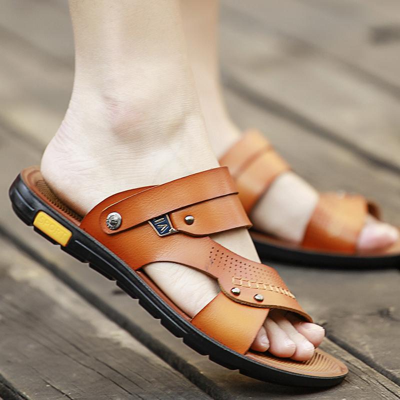 Beli Sepatu Sendal Kulit Pria Anti Slip Anti Air Gaya Korea Kuning Kuning Cicilan