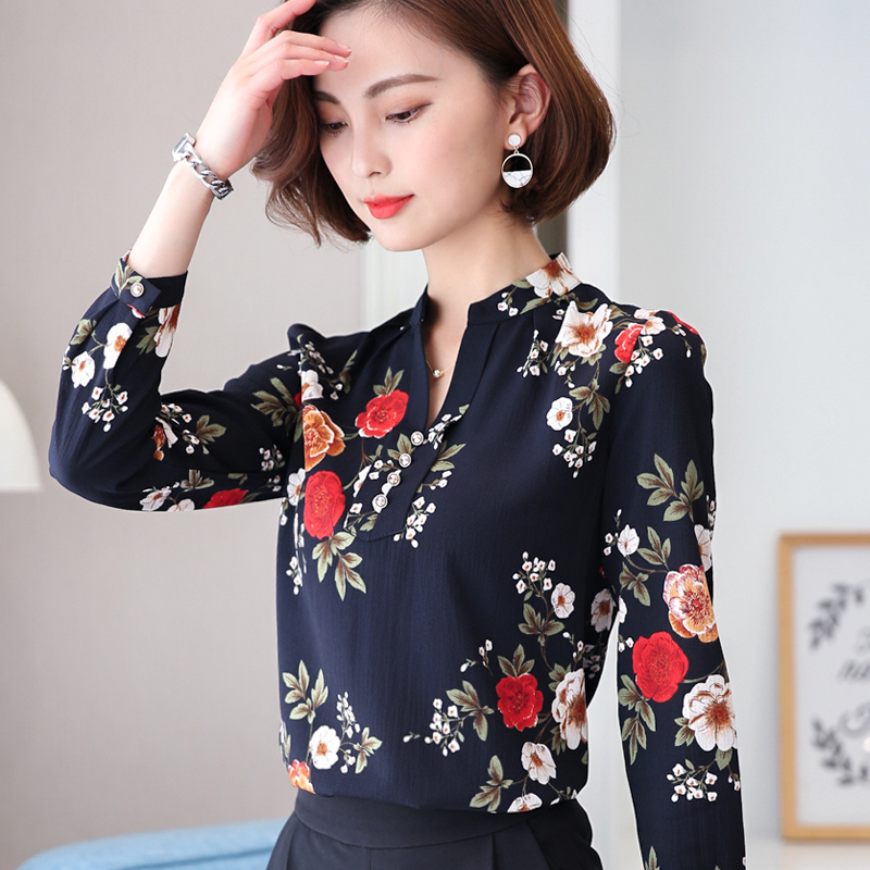 Jual Kemeja Korea Fashion Style Baru Kemeja Sifon Lengan Panjang Wanita Mne8811 Warna Biru Oem Di Tiongkok