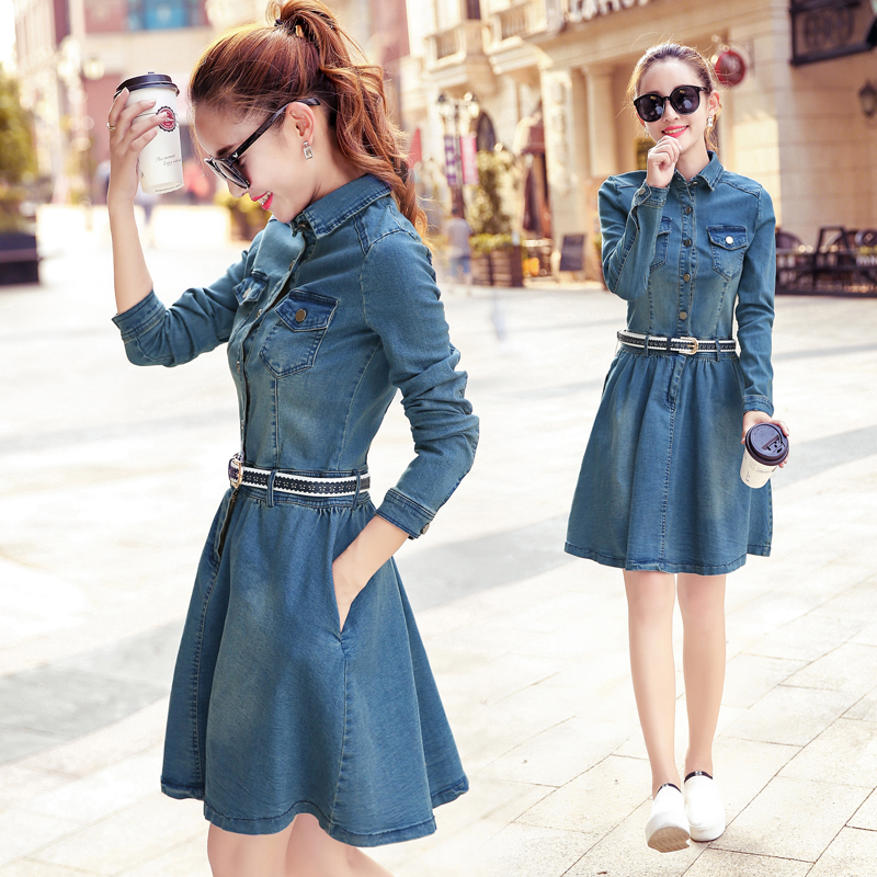 Jual Dress Jeans Fashion Fit Badan Wanita Gaya Korea Gambar Warna Gambar Warna Branded
