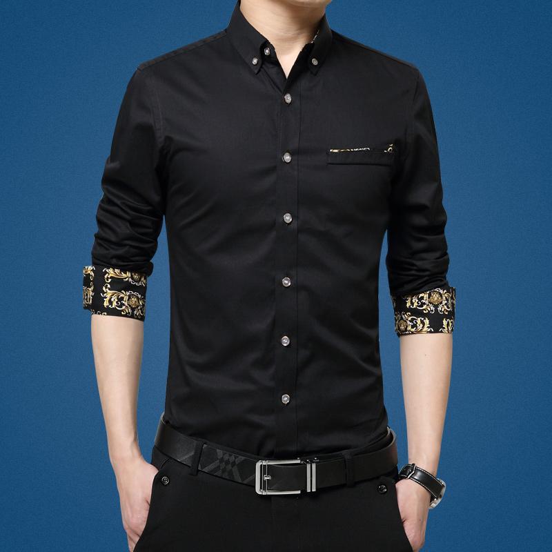 Harga Korea Fashion Style Musim Gugur Baru Slim Warna Solid Atasan Hitam Baju Atasan Kaos Pria Kemeja Pria Fullset Murah