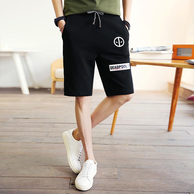 Versi Korea dari Kapas Musim Panas Lurus Kasual Celana Pendek Olahraga ( Hitam)