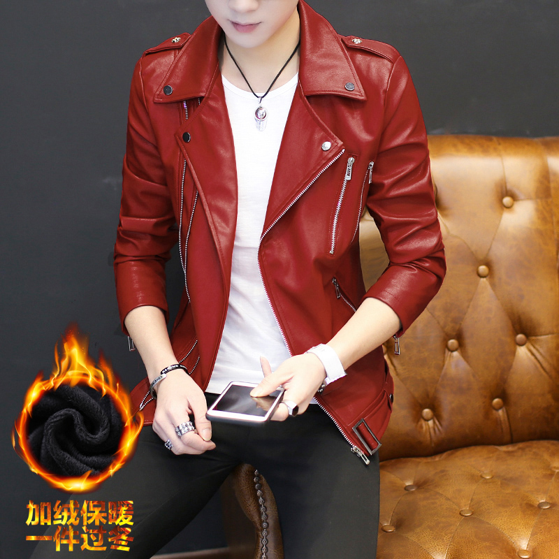 Harga Jeket Kulit Korea Fashion Style Pria Baju Kulit Muda Winnie The Pooh Merah Jaket Pria Jaket Kulit Pria Baru Murah