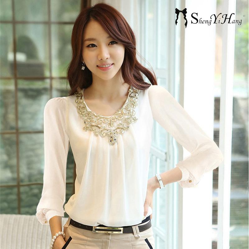 Korea Modis Gaya Pakaian Luar Yard Besar Renda Kemeja Kemeja Jersey Rayon (1004 Lengan Panjang Putih) baju Wanita Baju Atasan Kemeja Wanita Blus Wanita