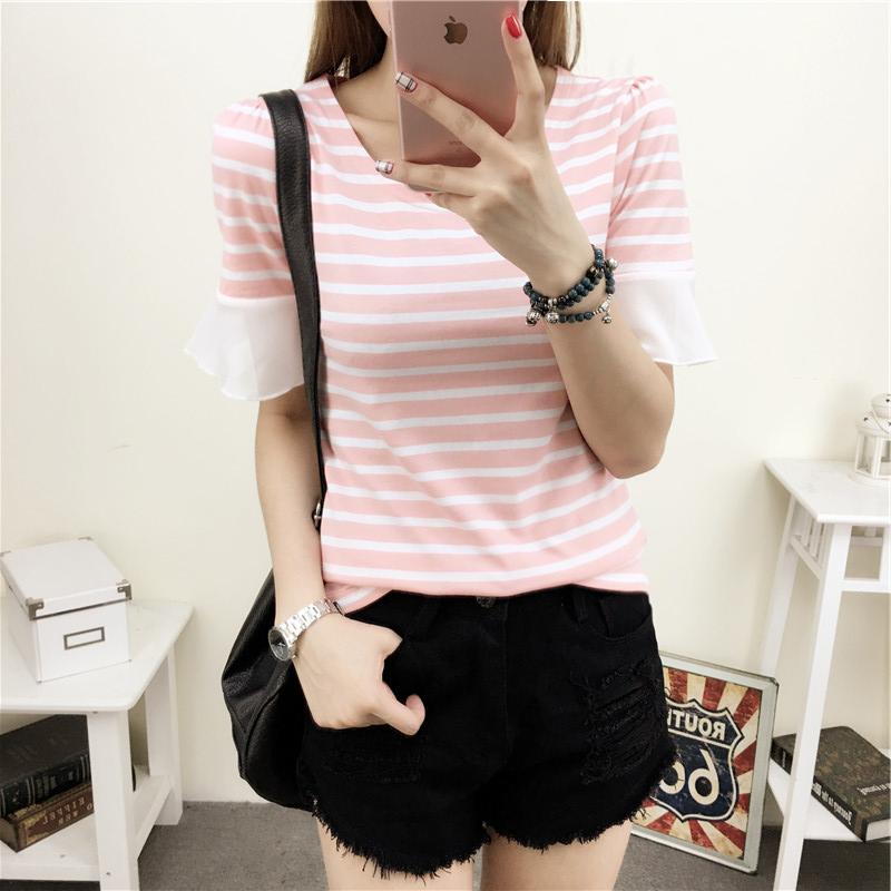 Harga Korea Fashion Style Perempuan Daun Teratai Lengan Pendek Atasan Leher Bulat Bergaris T Shirt Merah Muda Oem Terbaik