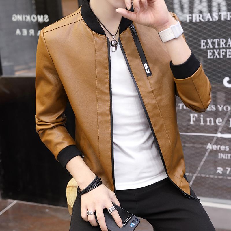 Harga Musim Gugur Dan Musim Dingin Korea Fashion Style Poly Urethane Slim Jaket Pria Baju Kulit Coklat Kekuningan Warna Jaket Pria Jaket Kulit Pria Online Tiongkok