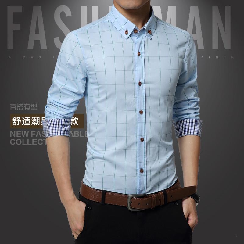 Review Terbaik Korea Fashion Style Pria Lengan Panjang Slim Kemeja Kotak Kotak Kasual Kemeja Langit Biru Langit Biru Baju Atasan Kaos Pria Kemeja Pria