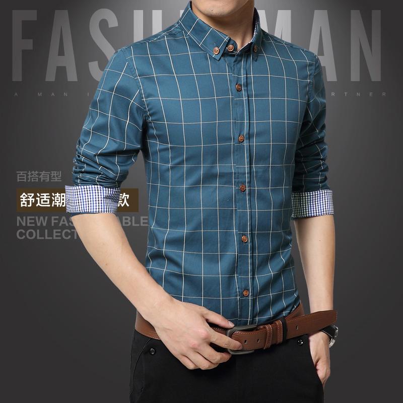 Beli Korea Fashion Style Pria Lengan Panjang Slim Kemeja Kotak Kotak Kasual Kemeja Tentara Hijau Tentara Hijau Baju Atasan Kaos Pria Kemeja Pria Kredit