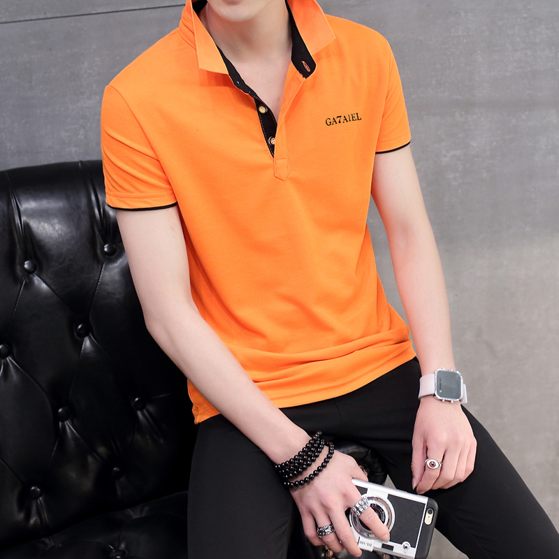 Jual Korea Fashion Style Pria Slim Kerah Turndown T Shirt Kemeja Polo Oranye Hitam Kerah Baju Atasan Kaos Pria Kemeja Pria Murah