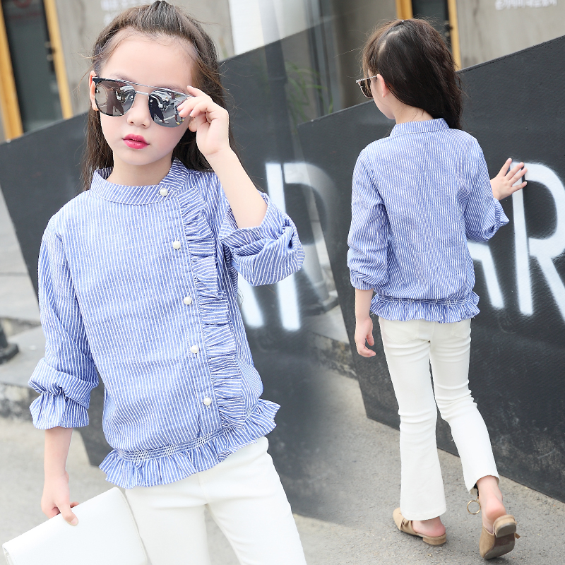 Beli Korea Fashion Style Remaja Lengan Panjang Katun Bergaris Atasan Gadis Kemeja Biru Cicilan