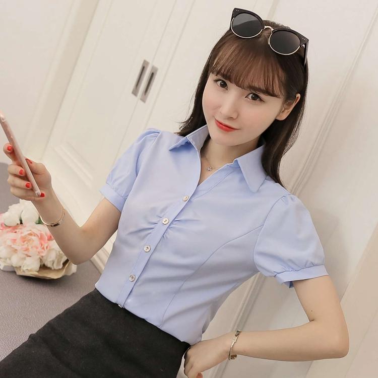 Harga Korea Fashion Style V Neck Yard Besar Lengan Pendek Kemeja Sifon Kemeja Putih Langit Biru Langit Biru Baju Wanita Baju Atasan Kemeja Wanita Yg Bagus