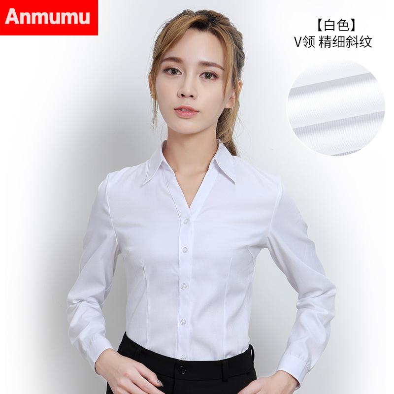 Harga Seragam Kerja Korea Kemeja Wanita Tambah Beludru Ukuran Besar Lengan Panjang Putih V Neck Kepar Bagian Tipis Branded