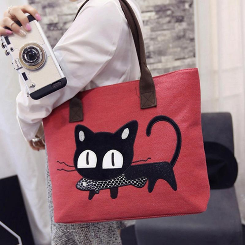 Korean Cute Cat Tote Bag Shoulder Bag / Canvas Totebag