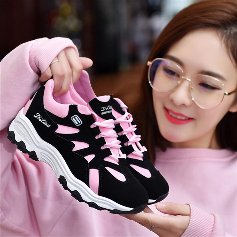 Spesifikasi Tian Nai Sepatu Olahraga Kain Perempuan Korea Merah Muda Merah Muda Merk Oem