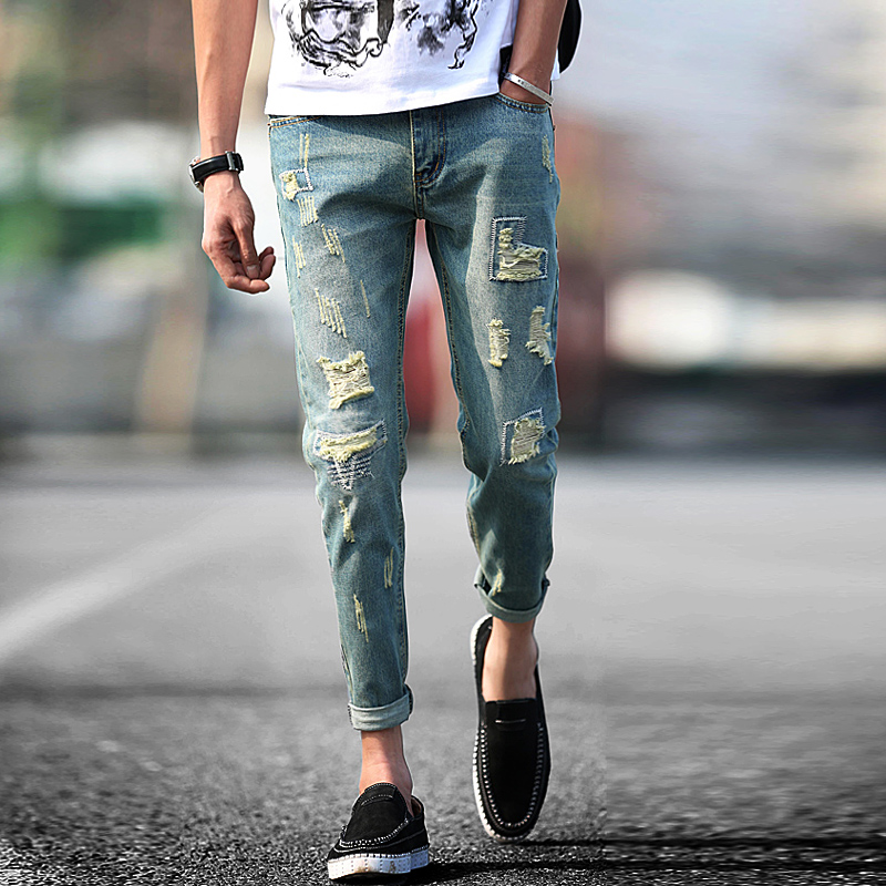 Toko Korean Style Men Skinny Slim Fit Ankle Length Pants Jeans 302 Model Termurah Tiongkok