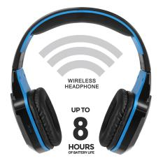 KOTION SETIAP B3505 Gaming Headset Nirkabel Bluetooth Headphone Bluetooth 4.1 Over-Ear Stereo Musik Earphone dengan MIC untuk IPhone7 6 PLUS Samsung Tablet PC Hitam dengan Biru-Intl