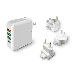 Spesifikasi Kp 4 U Qc 3 Cepat Charger 3 Port Usb Tipe C Port Dinding Charger Adaptor Perjalanan Ac For Buku Mack Baru Tablet Dll Oem