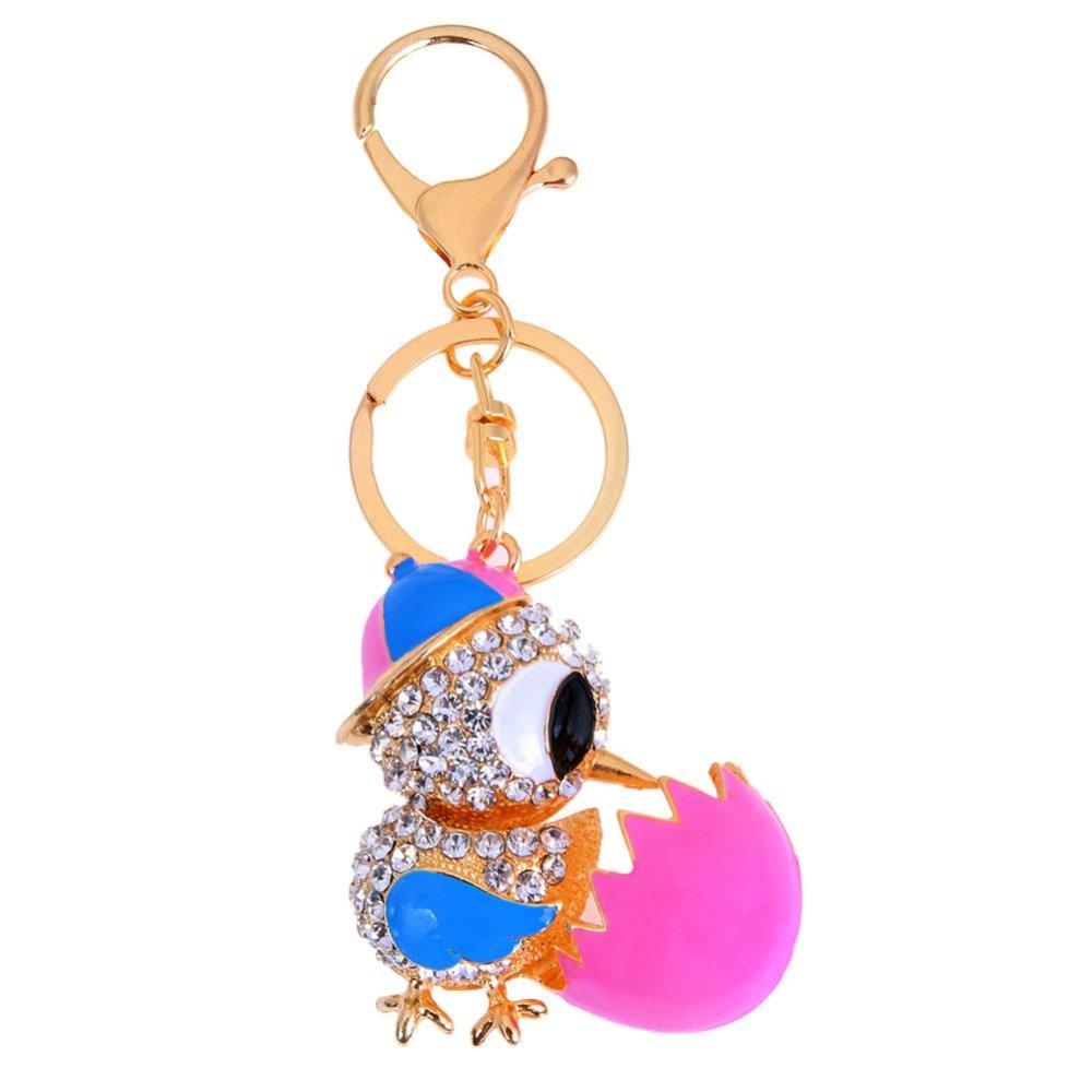 Kreatif Cute Chicken Metal Keychain Alloy Rhinestones Keyring untuk Mobil Bag Pink satu .
