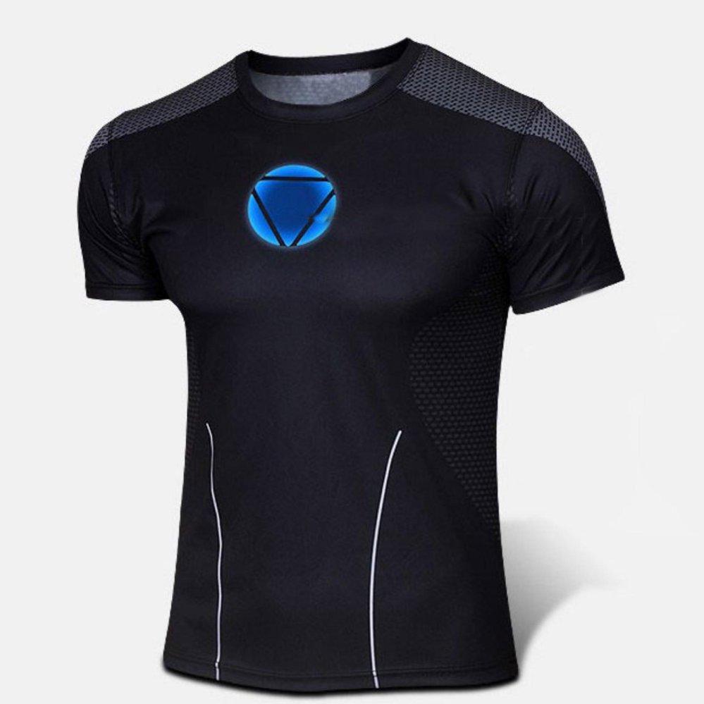 Kualitas Baik Ukuran Besar XS-4XL Iron Man Pembalas Lengan Bang Pendek Leher O Unisex Pria Wanita Pahlawan T-shirt (hitam) -Internasional