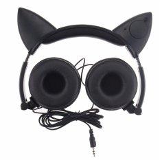 Kualitas Tinggi TTLIFE Fashion ROPS Berkedap-Magenta Bohlam Berpijar Kucing Telinga Headphone Headset Headphone With Permainan Cahaya LED For PC Komputer Laptop Ponsel (Hitam)