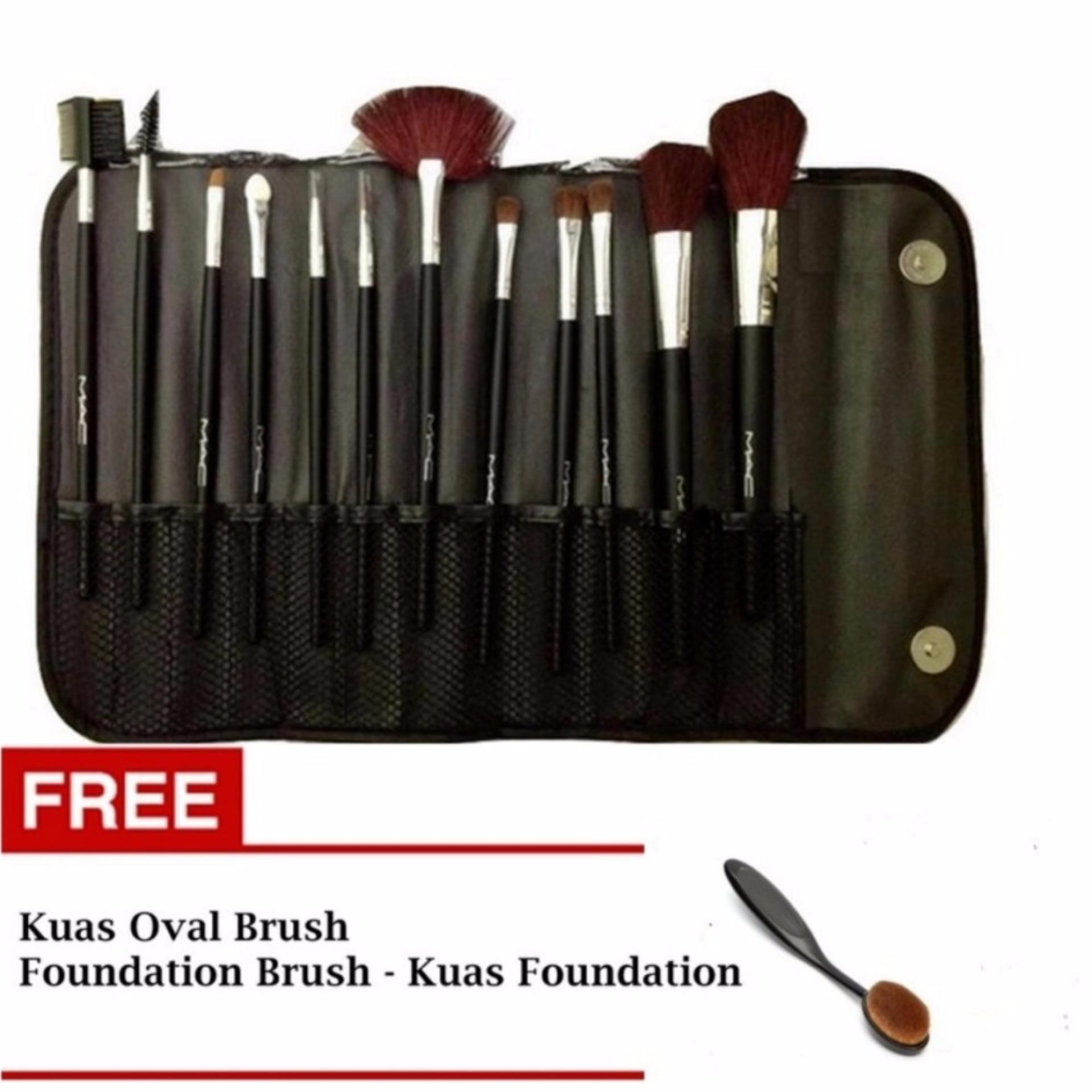 Kuas Make Up Set Kemasan Dompet - 12 Pcs + Gratis Oval Brush