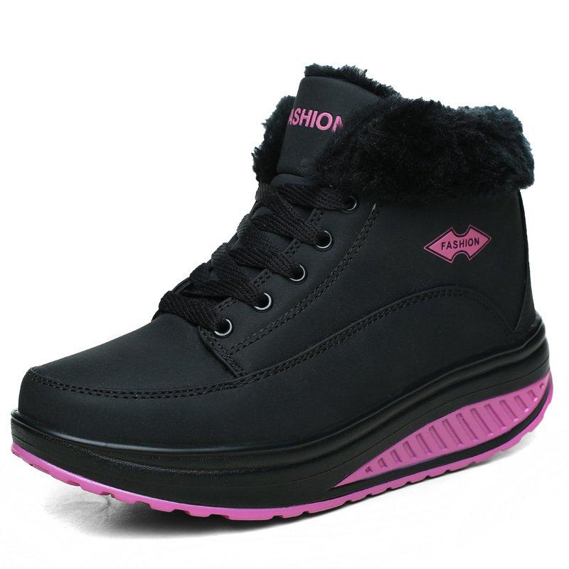Review Toko Kulit Domba Bulu Salju Boots Wanita Musim Dingin Boots 2016 Asli Kulit Casual Platform Boots Wedge Hangat Snowboots Ankle Sepatu Hitam Intl