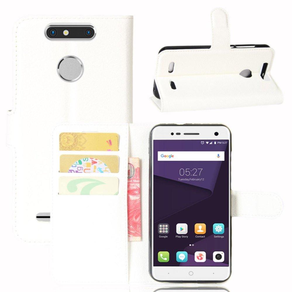 Kulit Flip Penutup Ponsel Case Dompet Card Holder untuk ZTE Blade V8 Lite (Putih)-Intl