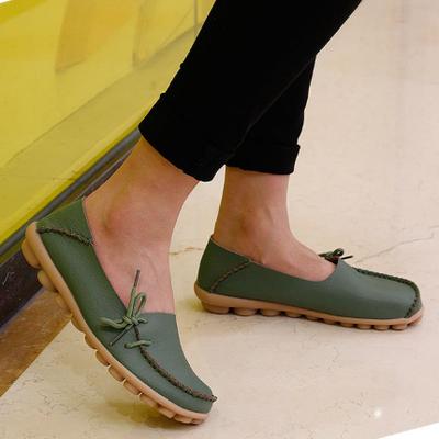 Beli Kulit Musim Semi Dan Musim Gugur Permukaan Yang Lembut Sepatu Hak Perempuan Sepatu Kulit Kacang Tentara Hijau Oem Online