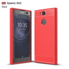 Kunpon for Sony Xperia XA2 Case Rugged Armor with Resilient Shock Absorption and Carbon Fiber TPU Non-Slip Anti-Scratch Ultra Slim Cover Case for Sony Xperia XA2 - Matte Red - intl