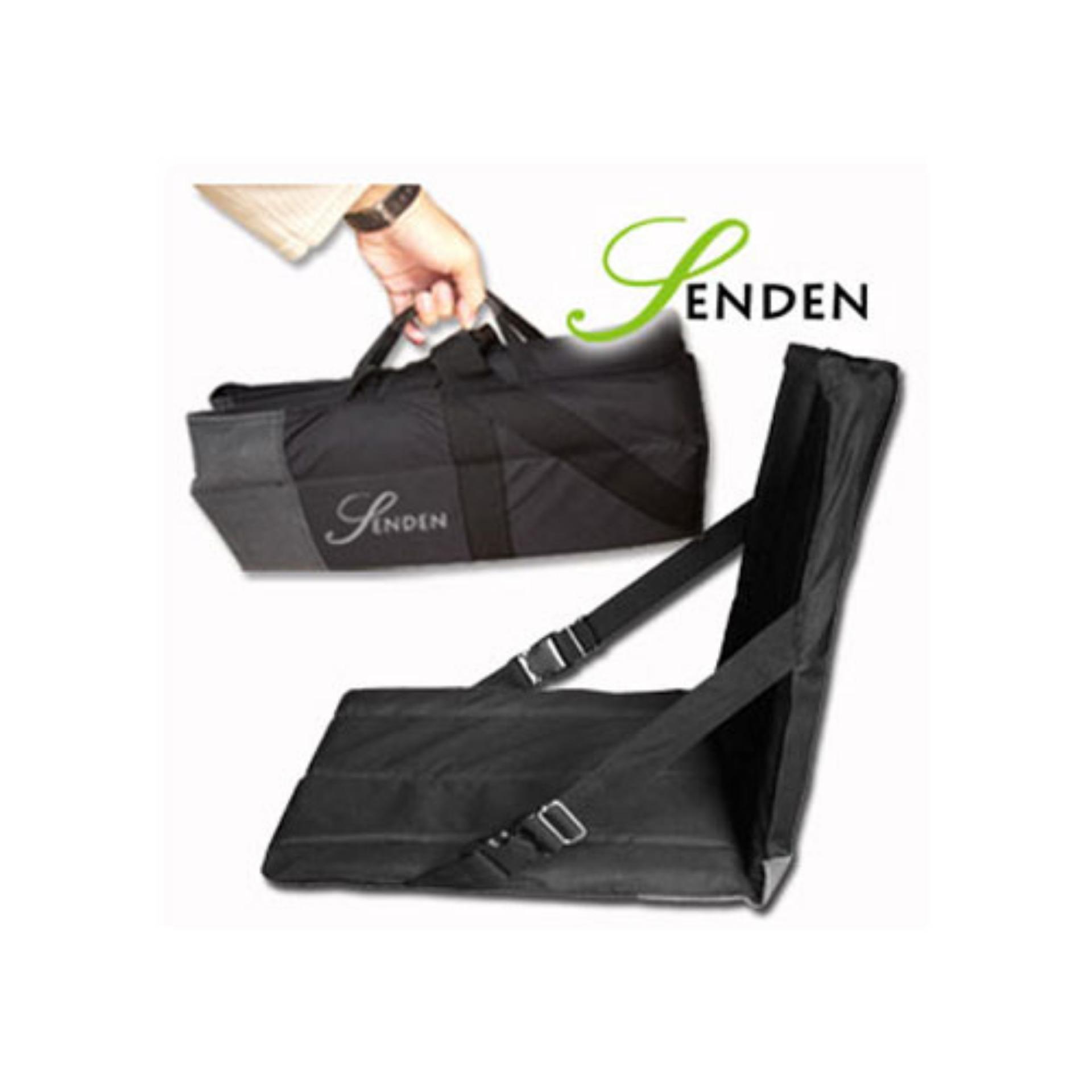 Kursi Lesehan Lipat / Kursi Sandaran Lipat Portable Motif Polos - Hitam SENDEN
