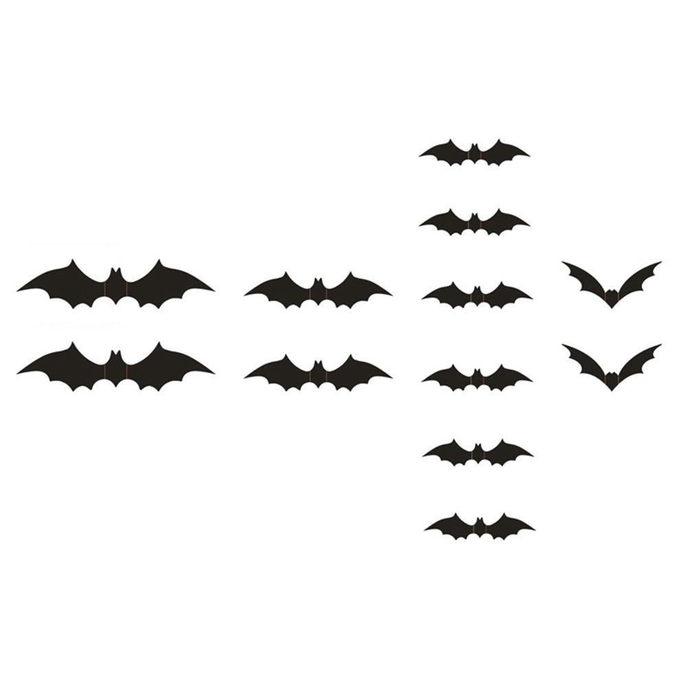 KuRun 12 Pcs/set 3D Bat Wall Stiker Fantasi PVC Wall Sticker Dekorasi Halloween-Intl