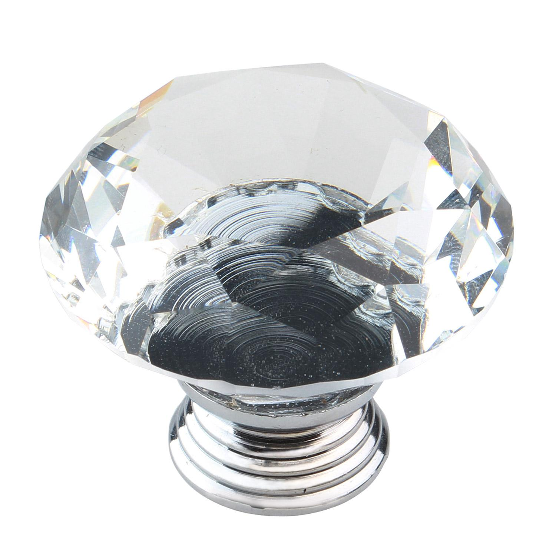 KuRun 40mm Diameter Crystal Glass Diamond Bentuk Gagang Kenop Kabinet Lemari Laci, Clear dan Silver-Intl