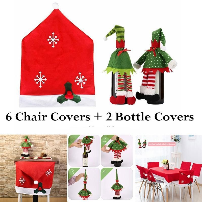 KuRun 6 Christmas Chair Covers And 2 Packs Wine Bottle Covers For Holiday Party Festival Christmas Kitchen Dining Room Chairs And Wine Bottles, Red - intl