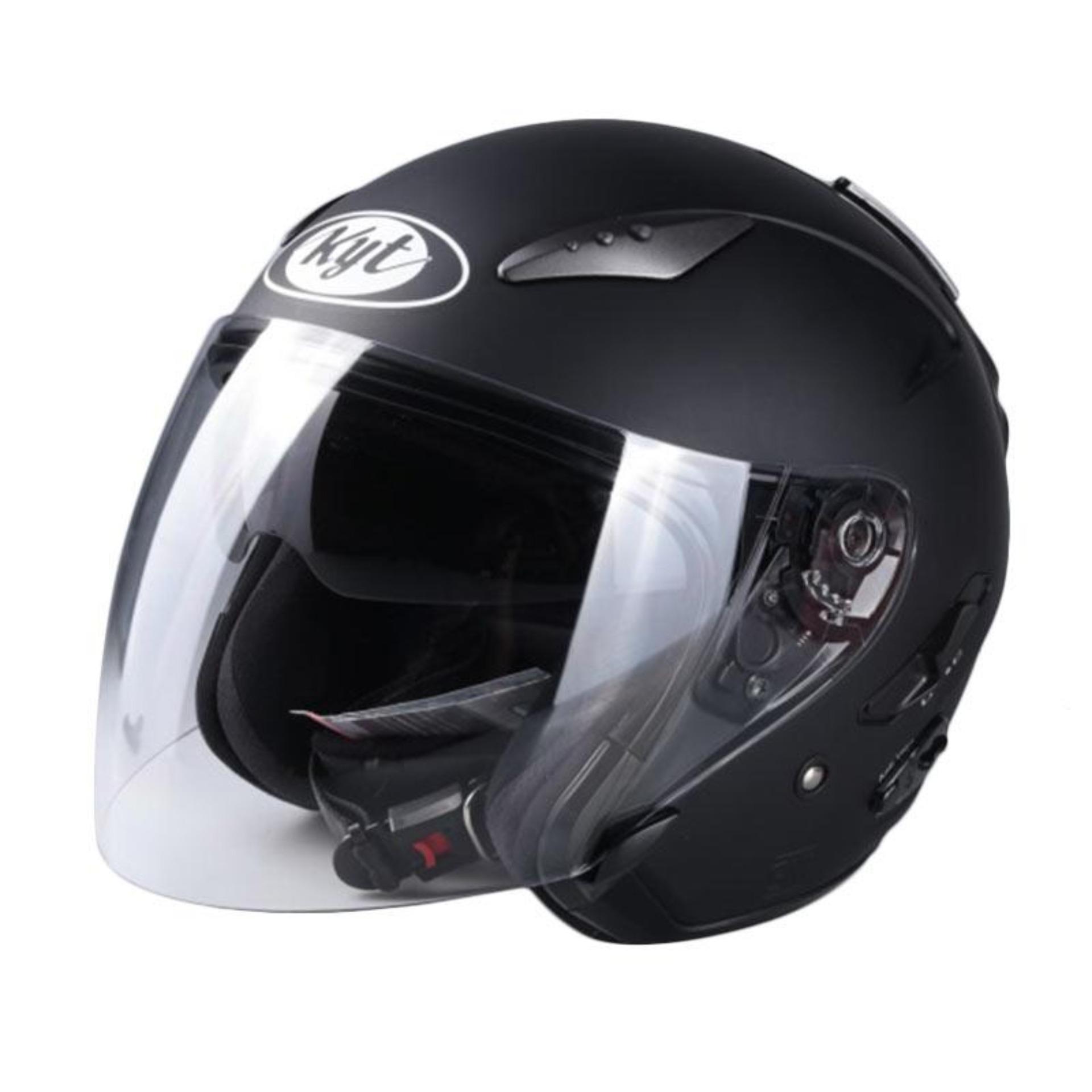 KYT Galaxy Helm Half Face - Black Doff