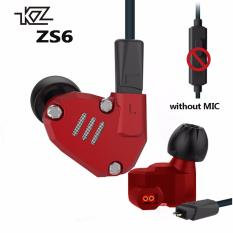Kualitas Kz Zs6 Quad Driver Headphone Kesetiaan Tinggi Ekstra Bass Earbuds With Mikrofon And Kabel Detachable Merah Kz