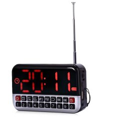 L 80 Hd Lcd Layar Personalized Portable Multi Fungsional Led Alarm Clock Radio Kartu Mp3 Speaker Silver Timezone Diskon 30