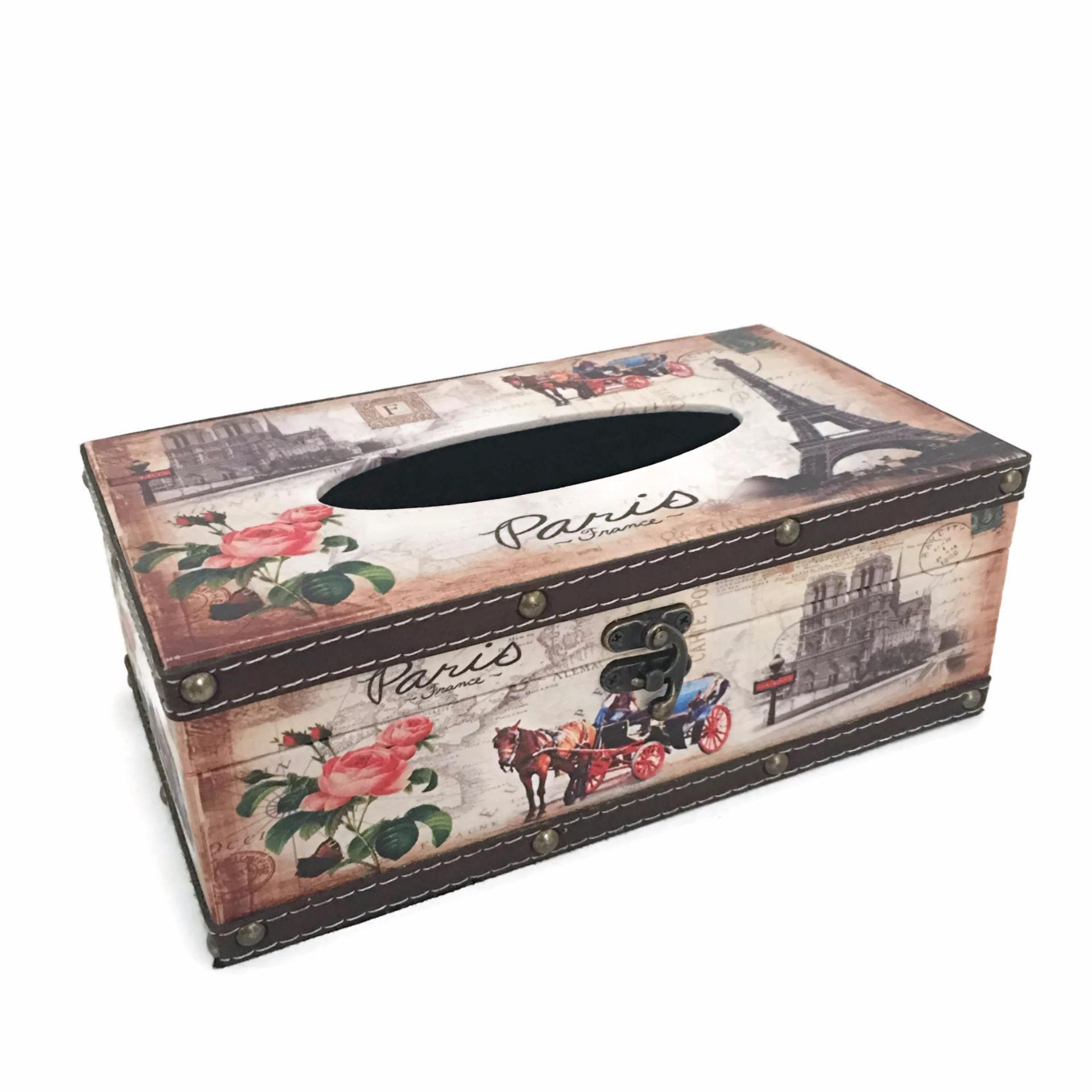LaCarLa Decorative Retro Vintage Design Hinged Refillable Tissue Box Holder Cover - Tempat Tissue Corak Antik Jadul Kuno - Paris