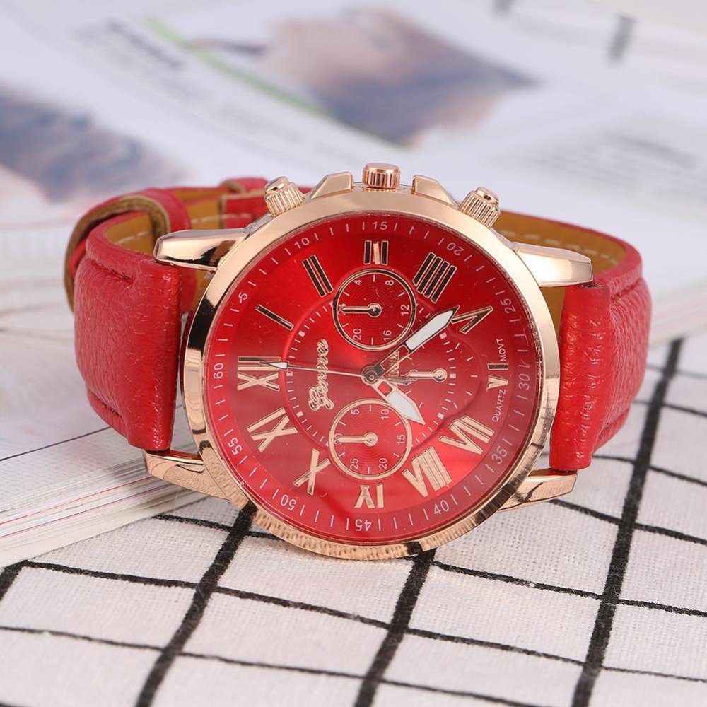 Spesifikasi Lady Analog Quartz Pu Kulit Band Bulat Angka Watch Red Intl Bagus