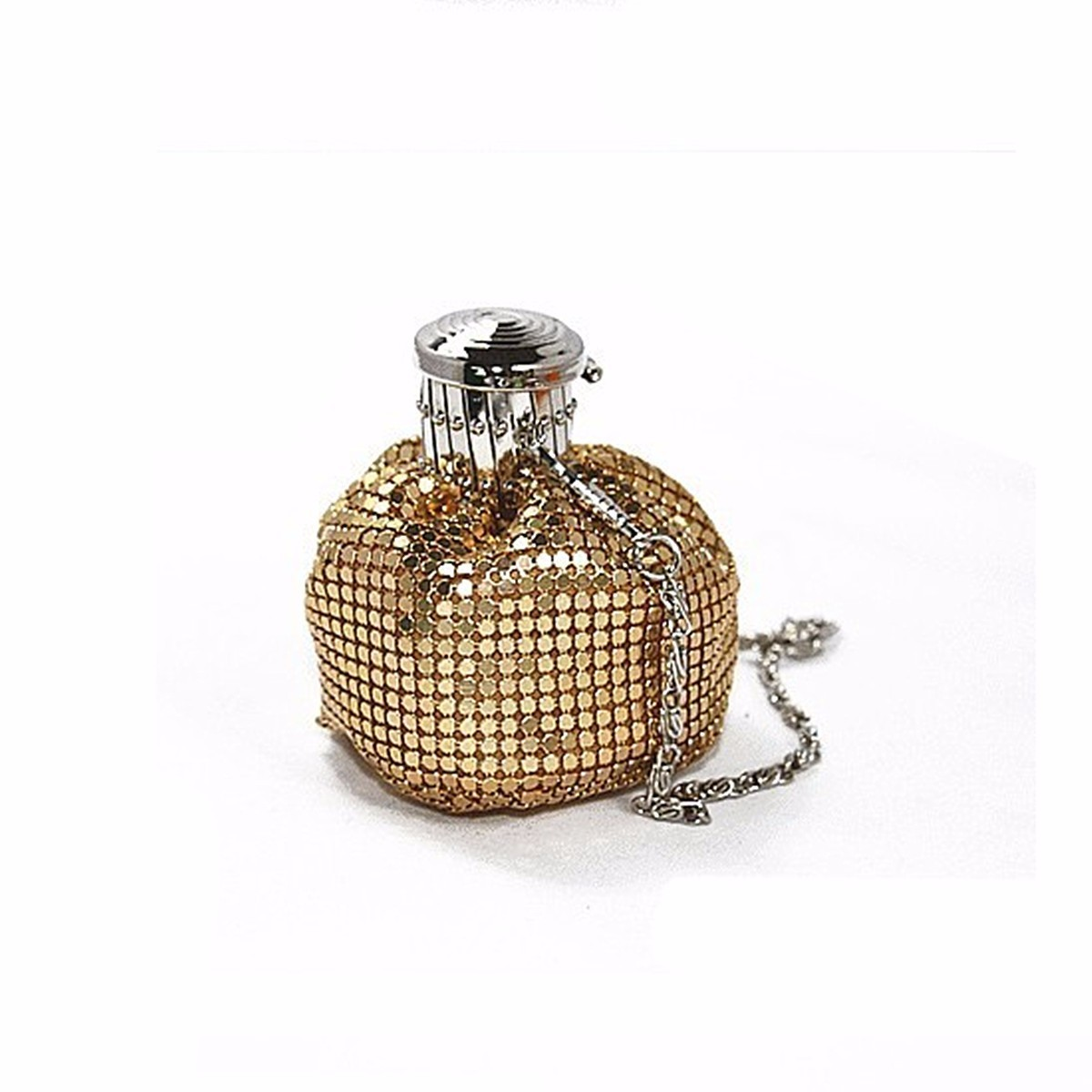 Ulasan Mengenai Lady Bucket Handbag Mini Aluminium Shoulder Bag Evening Pesta Bling Clutch Dompet Emas Intl