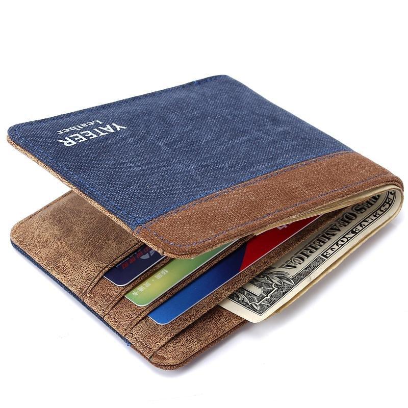 Laki-laki Kreatif Pendek Bagian Dompet Kanvas Pocket Dompet-Biru Kopi