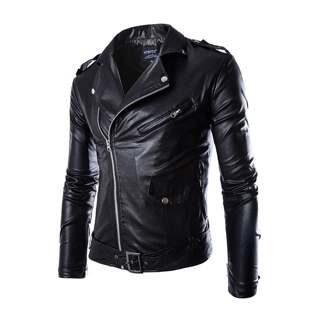 Laki-laki Luar Ruangan Balap Sepeda Motor Jaket PU Kulit Baju Pakaian Berkuda (Hitam)